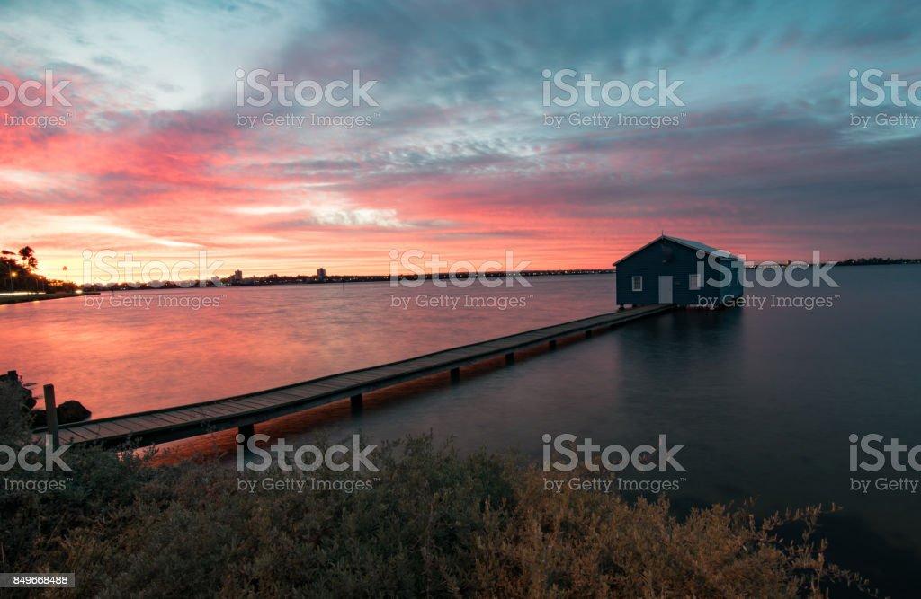 Matilda bay boat shed. stock photo