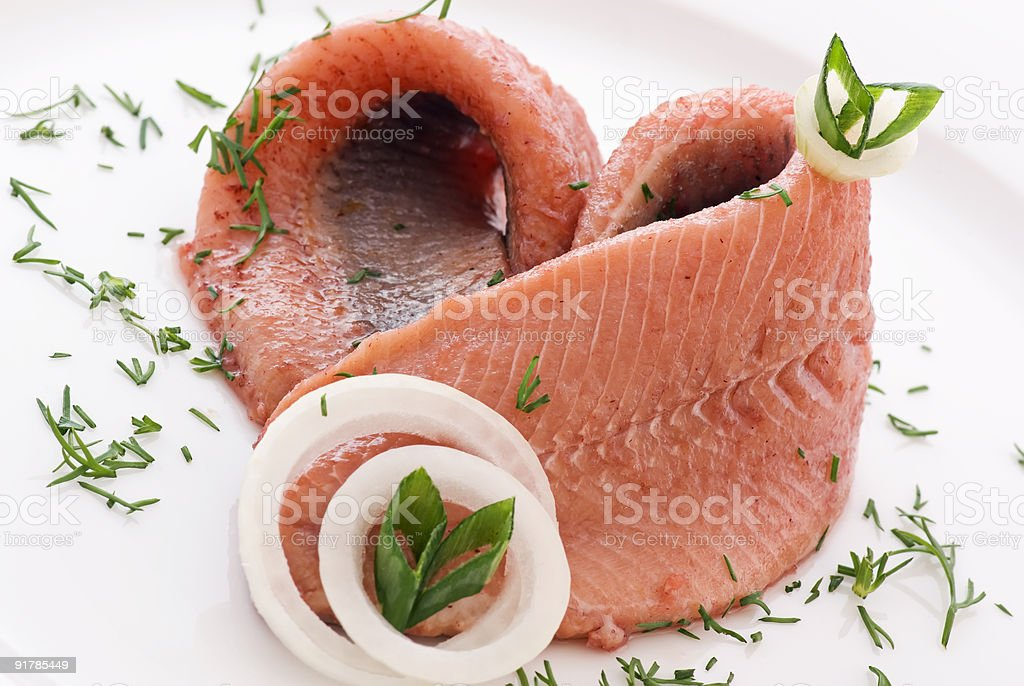 Matjes Herring stock photo