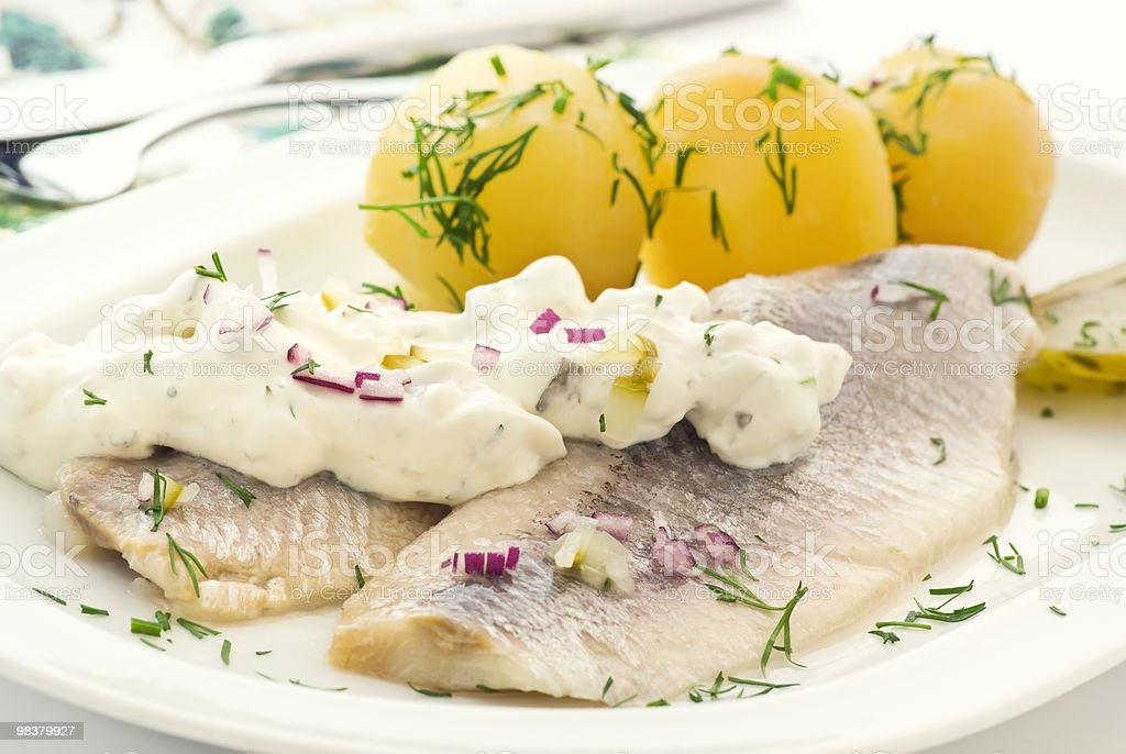 Matjes Herring with Potatoes stock photo