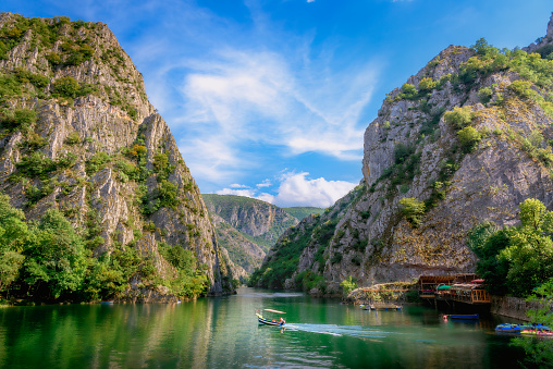 Matka canyon with boat in lake