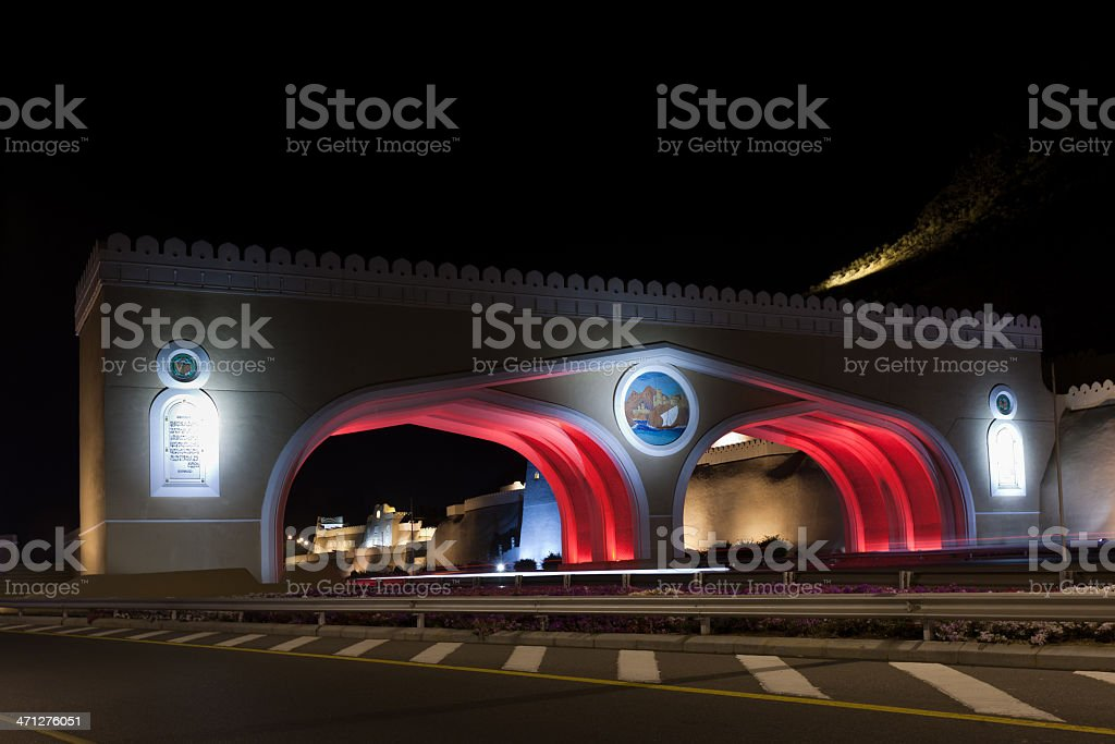 Matrah Highway City Gate Night Sultanate Oman royalty-free stock photo