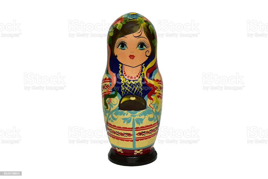 Matrioshka or babushkas dolls on a white background stock photo