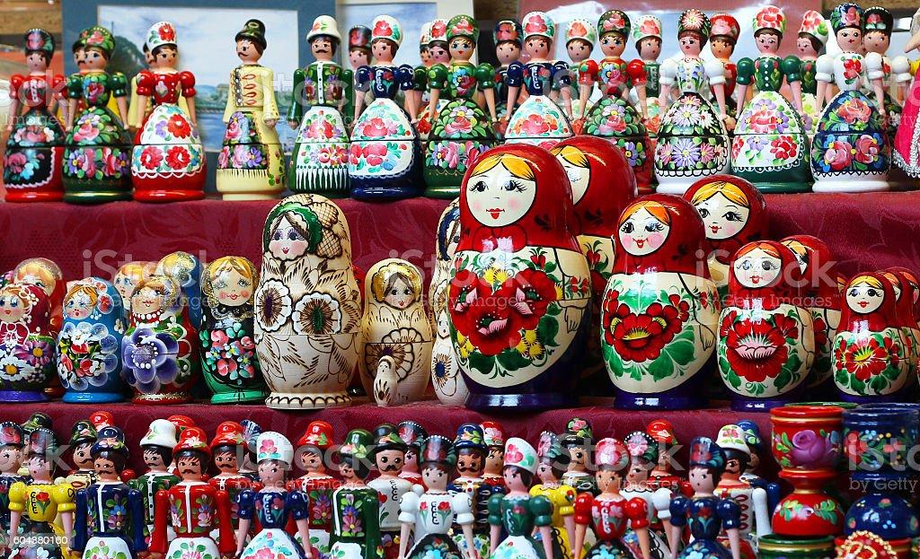 Matrioshka Russian wooden nesting dolls stock photo