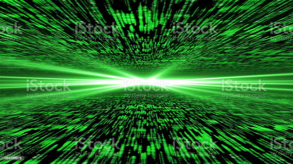 matrix 3d - flying through energized cyberspace stock photo