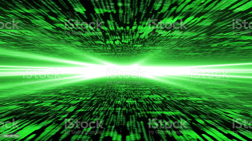 matrix 3d - flying through highly energized cyberspace stock photo