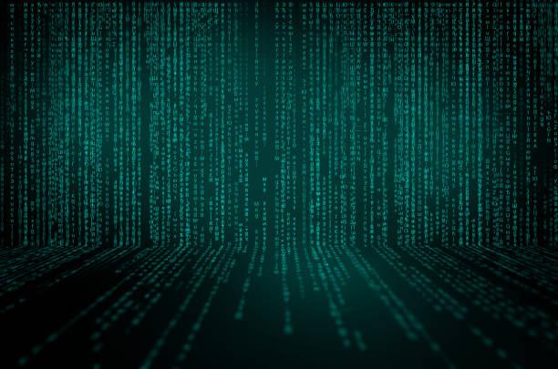 Fond de matrice avec les symboles bleus. cyberespace avec des lignes bleues de chutes numériques - Photo