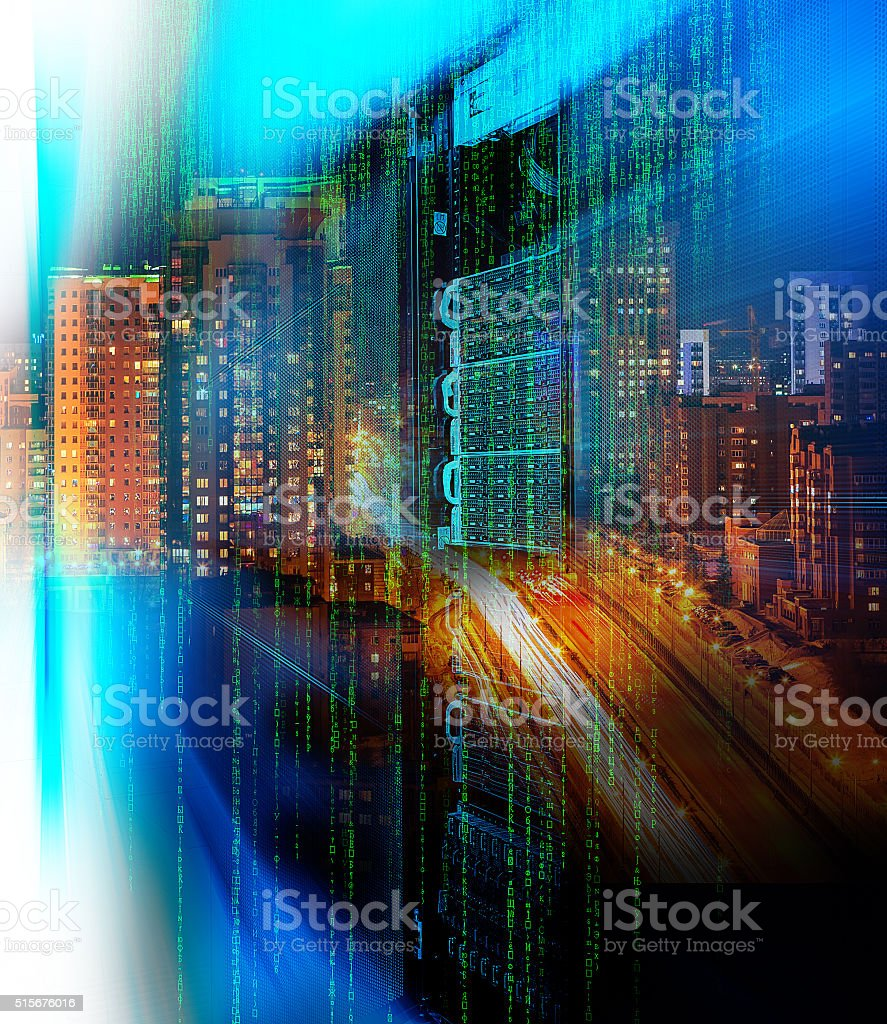 matrix code Blade server  double exposure night city confusion stock photo
