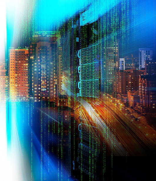matrix code blade server  double exposure night city confusion - free images for downloads stock photos and pictures