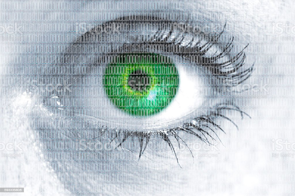 Matrix Eye Looks At Viewer Concept Stock Photo & More