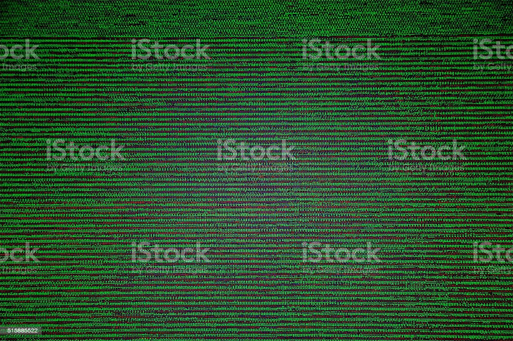 Matrix screen TV LCD Television broadcast digital noise electronic failure stock photo