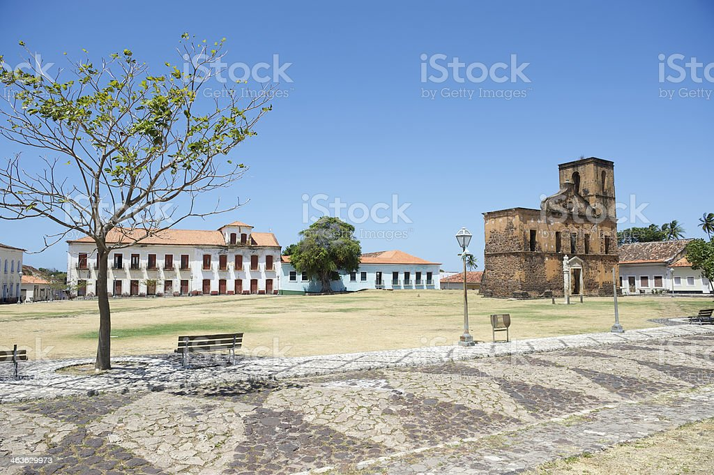 Matriz Plaza and Sao Matias Church in Alcantara Brazil stock photo