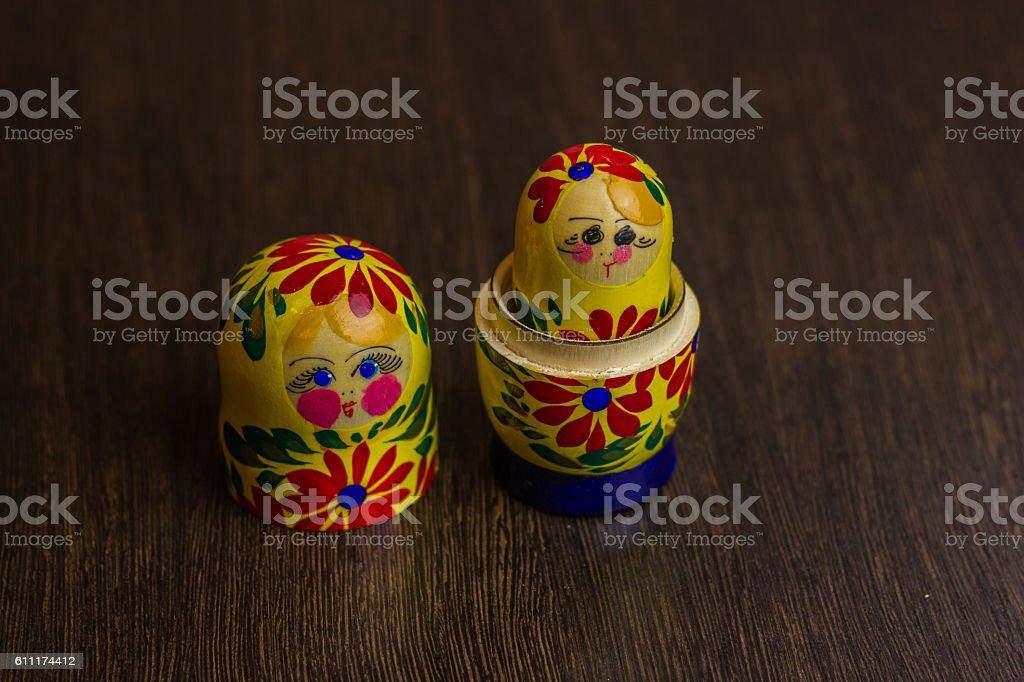 Matryoshka, a Russian wooden doll stock photo