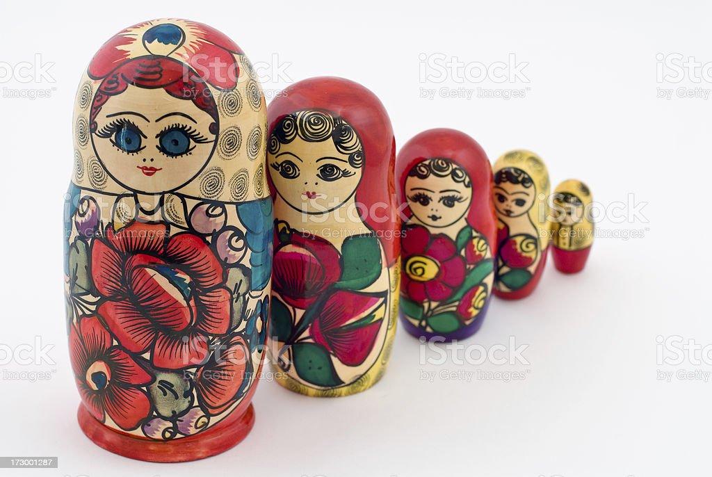 Matryoshka in a Line royalty-free stock photo