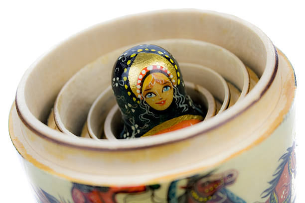 Matryoshka - Russian nesting doll on white stock photo