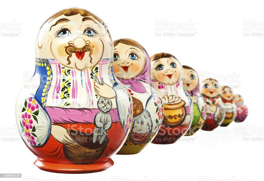 Matryoshka. Russian, Ukrainian Dolls. isolated on white. With clipping path royalty-free stock photo