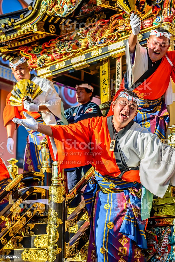 Matsuri men welcoming crowds stock photo