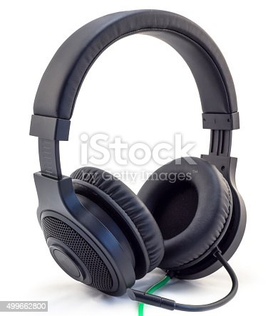 istock Matt black headphones with a headset  isolated on white 499662800