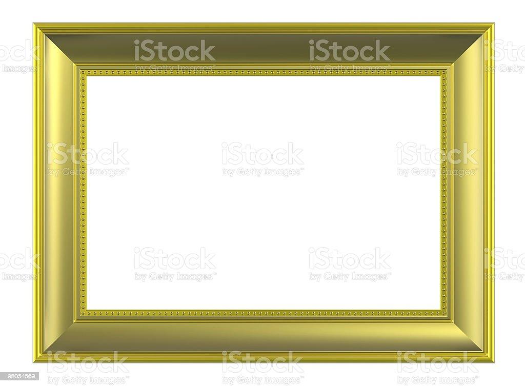 Matt gold plated wooden frame on white royalty-free stock photo