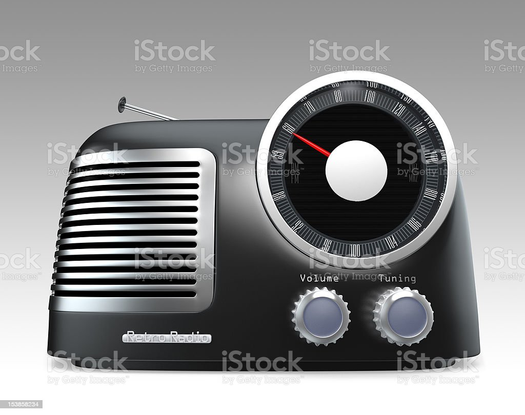 Matte black retro radio with gray background stock photo