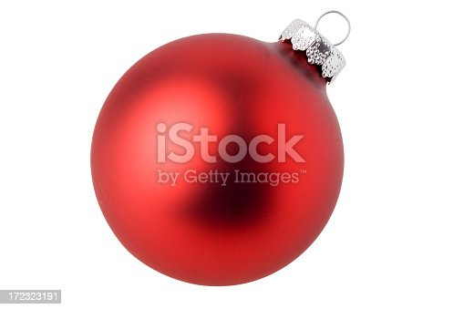 istock Matte red ball Christmas ornament in a white background 172323191