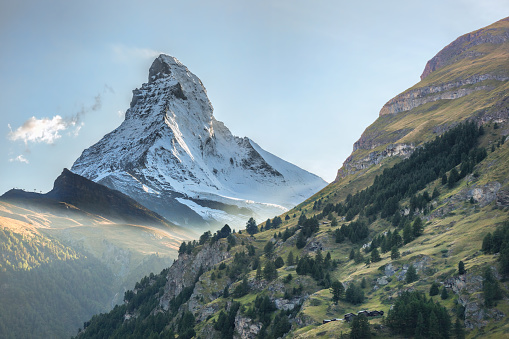 Matterhorn against sunset in Swiss Alps, Zermatt area, Switzerland
