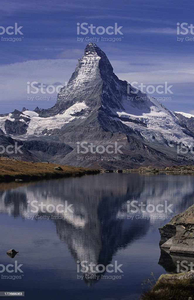 Matterhorn & Stellisee (vertical) royalty-free stock photo