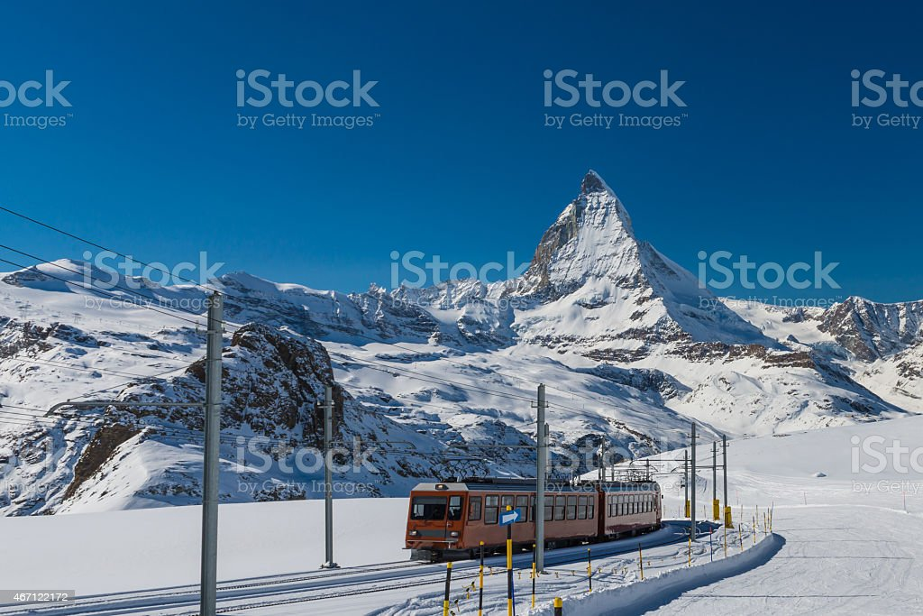 Matterhorn and Gornergrat Train, Switzerland stock photo