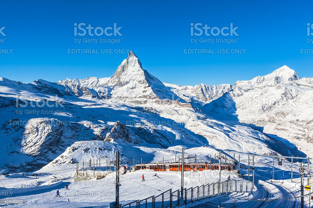 Matterhorn and Gornergratbahn stock photo