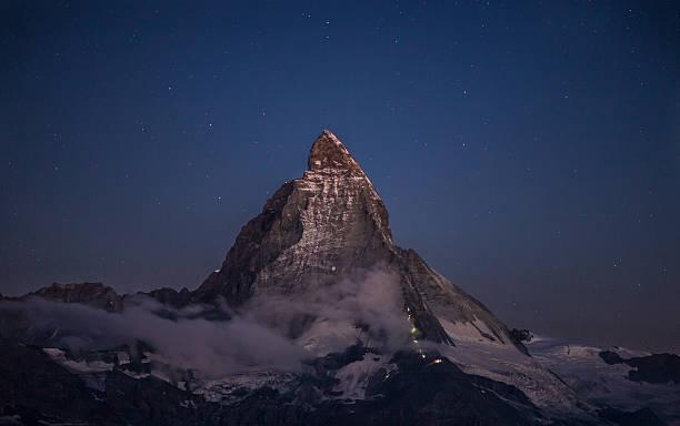Matterhorn and the climbers at night - Photo