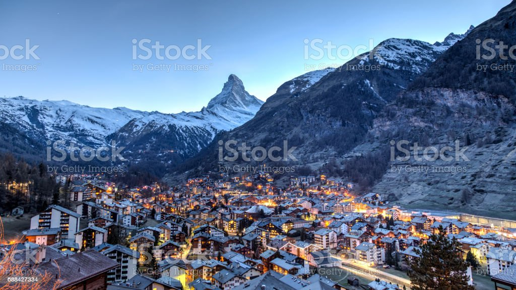 Matterhorn and Zermatt view stock photo