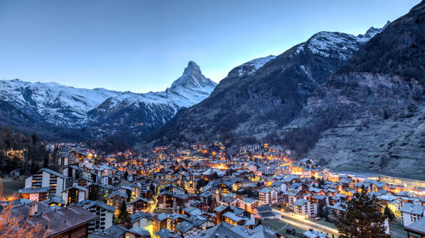 Matterhorn and Zermatt view Panoramic view of the famous Matterhorn and Zermatt in the Swiss Alps in the evening zermatt stock pictures, royalty-free photos & images