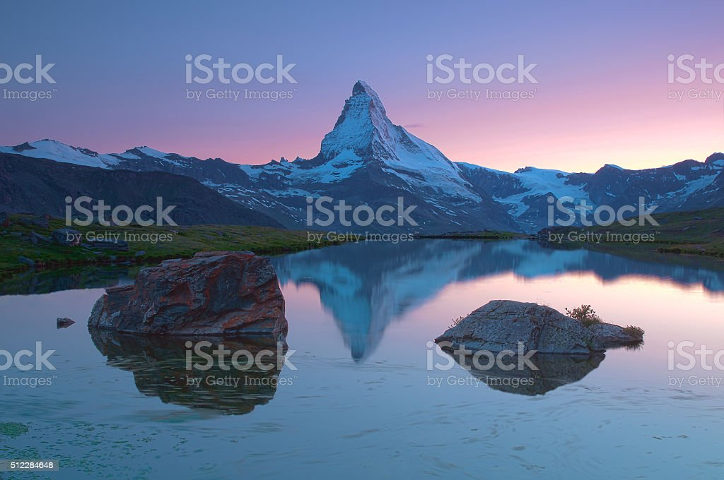 Matterhorn at sunset stock photo
