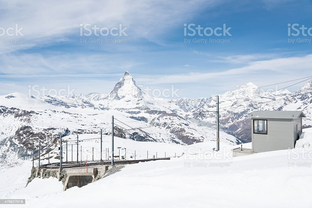 Matterhorn from Gornergrat View platform, Zermatt, Switzerland stock photo
