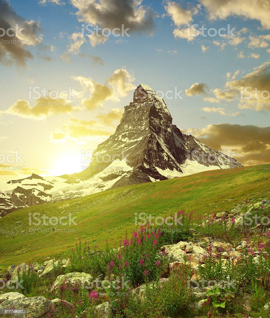 Matterhorn in the sunset stock photo