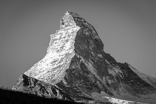 Matterhorn in Zermatt, Switzerland, black and white