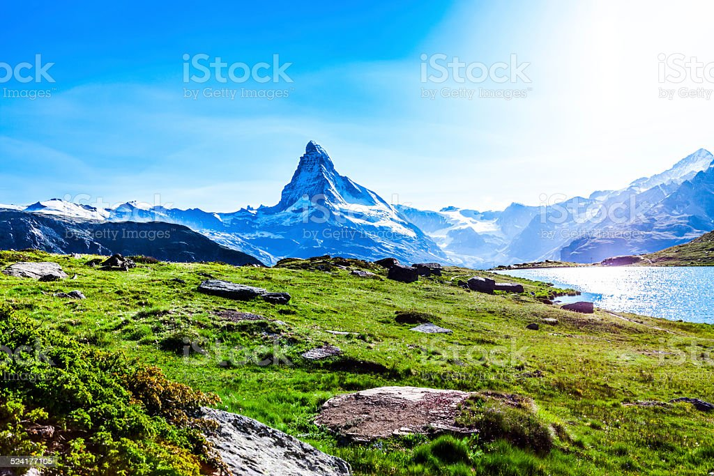 Matterhorn landscape, Switzerland stock photo