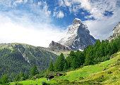 Amazing view on Matterhorn - famous mount in Swiss Alps