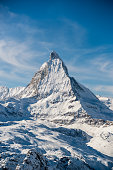Matterhorn Mountain Winter View in Zermatt / Switzerland\nEuropean Alps