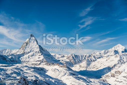 Matterhorn Mountain Winter View in Zermatt / Switzerland European Alps