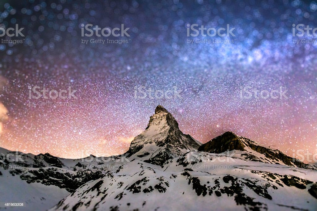 Matterhorn night with star background stock photo