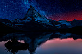 Matterhorn mountain with starry sky. AdobeRGB colorspace.