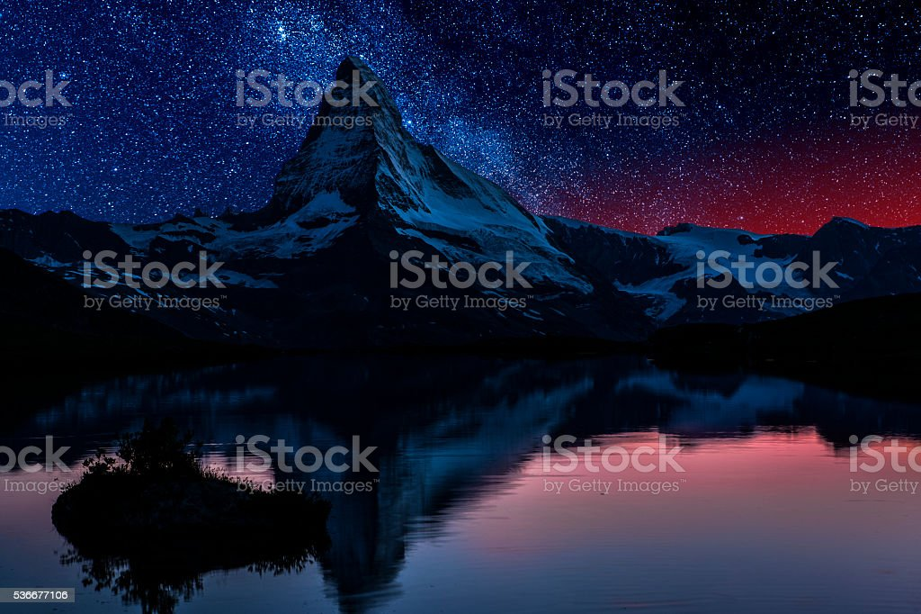 Matterhorn night with stars stock photo