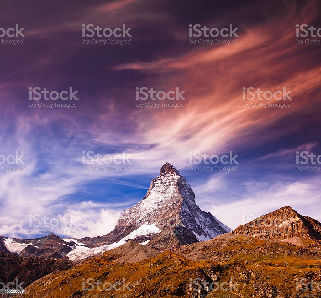 Matterhorn of Switzerland stock photo