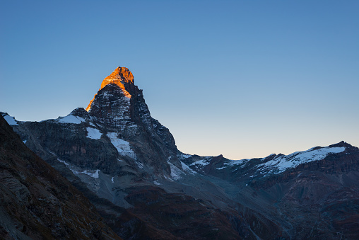 Matterhorn or Cervino at sunset, italian side