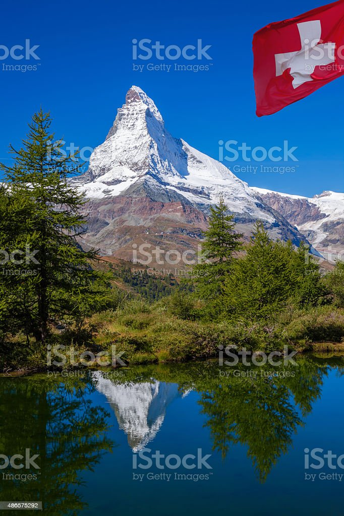 Matterhorn reflecting in Grindjisee in Swiss Alps, Switzerland stock photo