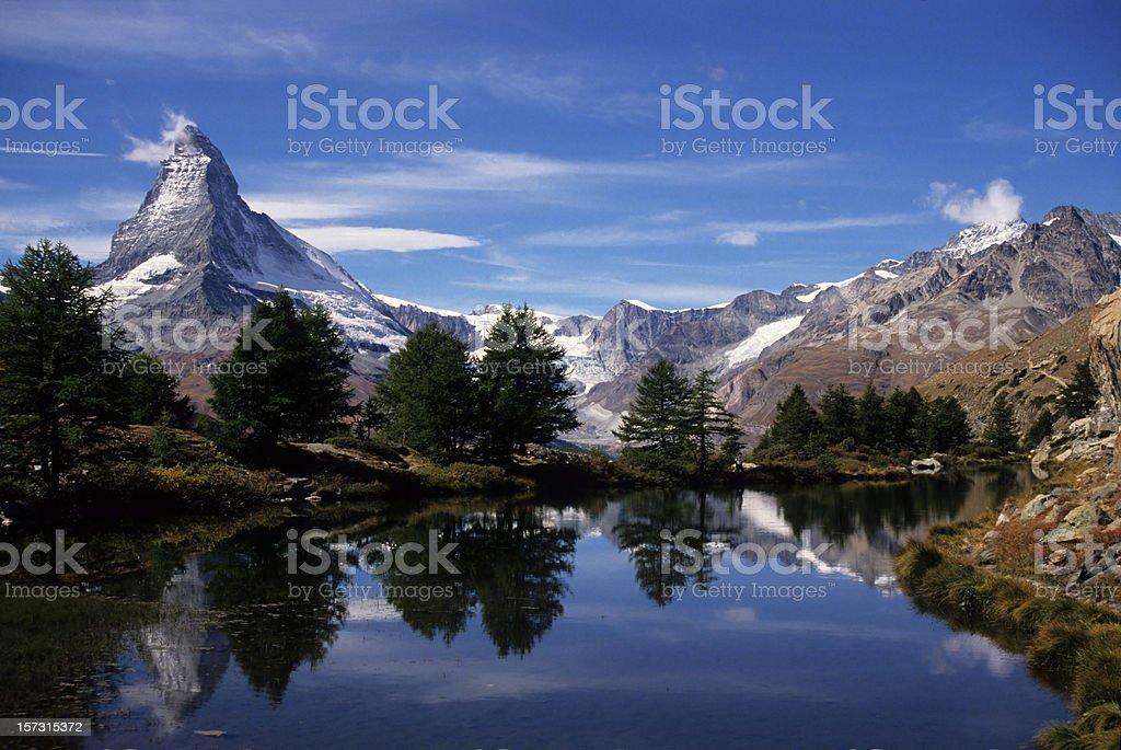 Matterhorn reflecting in Grindjisee lake royalty-free stock photo