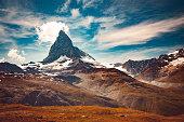 The Matterhorn mountain in summer