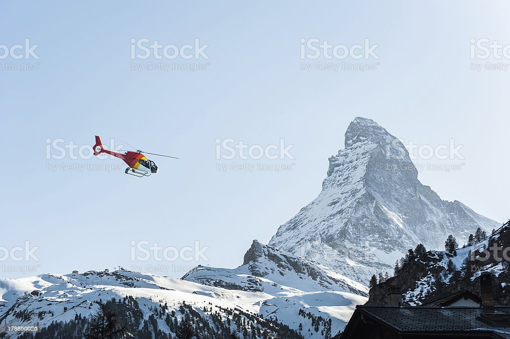 Matterhorn View With Red Helipad royalty-free stock photo