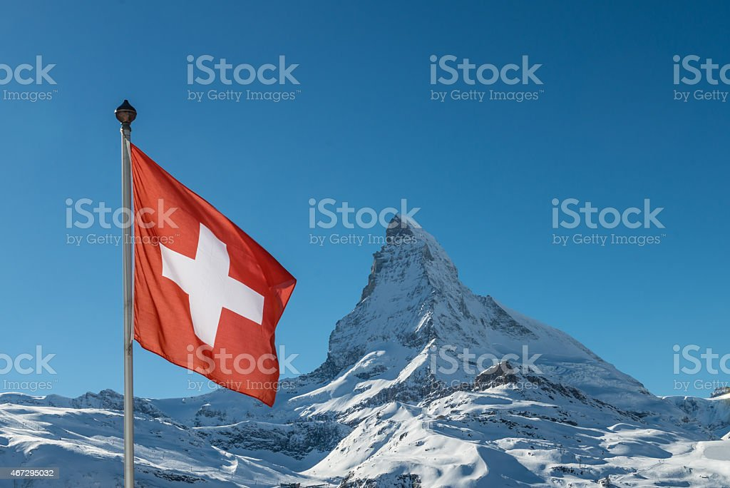 Matterhorn with Swiss Flag stock photo