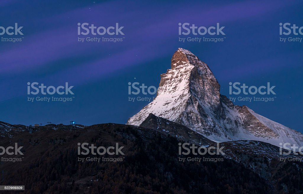 Matterhorn Zermatt by night stock photo